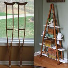 crutch bookshelf