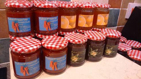 Jam jars filled