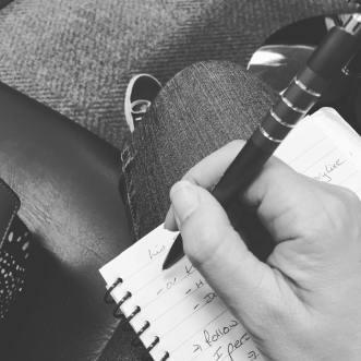 Writing on knee